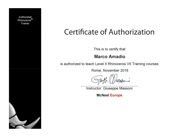 ART Rhino certificated - Marco Amadio